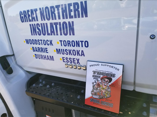 Great Northern Insulation's Convoy participation plaque sits on the footstep of the participating GNI truck.