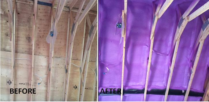 before after spray foam insulation job GNI toronto